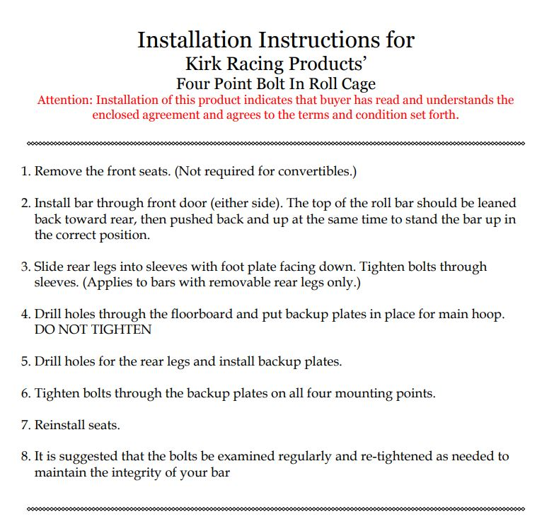Kirk Racing Installation Instructions