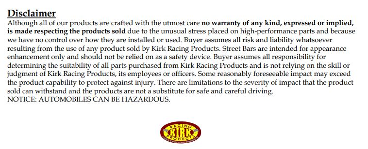 Kirk and Track Toy Parts Disclaimer