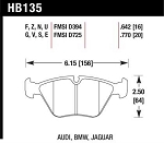 Hawk Brake Pads - HB135*.760 Front Pads for BMW E36M3 * E46M3 2001-02 * MZ3 & Others